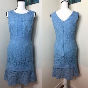 Antonio Melani Lace Fit and Flare Baby Blue Dress